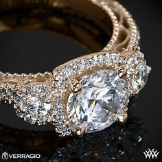 Rose Gold Verragio Triple Halo 3 Stone Engagement Ring from the Verragio Venetian Collection. Pin It To Win It Verragio Love Giveaway with Whiteflash.com #Whiteflash #Verragio