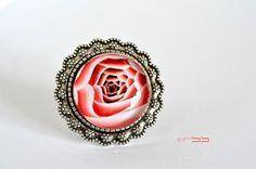 "Bague Cabochon de verre ronde 25 mm ""Coeur de Rose"""