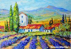 """Купить """"Ароматный Ветер Прованса"""" - картина маслом на холсте - голубой, прованс, прованский стиль"""