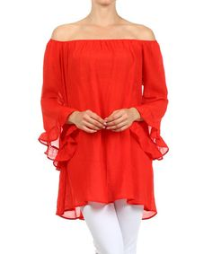 Another great find on #zulily! Red Bell-Sleeve Linen-Blend Top by J-Mode USA Los Angeles #zulilyfinds