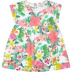 Mini girls pink jersey floral dress £10