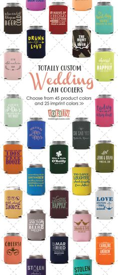 Create your own personalized wedding koozies with us, your guests will be thrilled when you provide them with custom can coolers at your wedding! With close to 1,000 artwork design options, 45 product colors and 25 imprint colors, your options are endless! Use coupon code PINFREESHIP and receive FREE Ground Shipping in the Continental United States!  KOOZIE® is a registered trademark of Norwood Promotional Products. Koozie® products are available for purchase at TotallyWeddingKoozies.com
