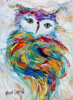 Owl painting original oil abstract on canvas palette knife #OilPaintingOwl