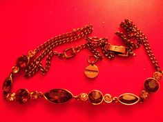 VINTAGE GIVENCHY SIGNED BRONZY COPPERISH  TOPAZ CRYSTAL RHINESTONE NECKLACE #Givenchy #Necklace
