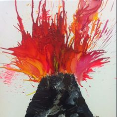 Volcano painting! Paint a simple black triangle and place several puddles of yellow, orange and red. With a straw blow the paint. It swirls and bubbles, making a realistic lava effect! photo only