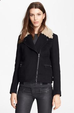 Belstaff 'Kingsley' Lightweight Tweed Moto Jacket with Genuine Shearling Collar available at #Nordstrom