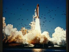 Lift off for the space shuttle Challenger. January 28, 1986, at 11:38 a.m., EST, Kennedy Space Center, Florida. Only 73 seconds into the launch an explosion killed the seven member crew.