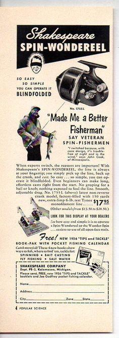 1956 Vintage Ad Shakespeare Spin-Wondereel 1755L Fishing Reels  #Paper