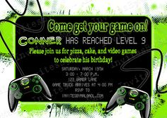 Video Game Party Invitation Template Free Google Search Party - Birthday invitation video