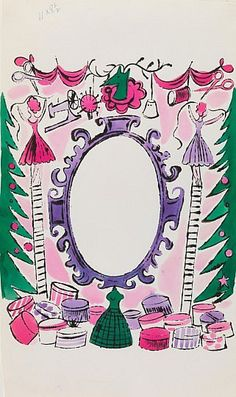 Christmas Sewing Theme 1957 by Andy Warhol (American 1928-1987)