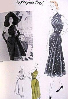 1950s RARE Jacques Fath AMAZING Evening Dress Pattern Vogue Paris Original Model 1143 Sheath Dress Draped Toga Effect Single Shoulder Draped Dress Bust 34 Vintage Sewing Pattern FACTORY FOLDED