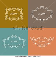 Geometric frame in trendy mono line style. - stock vector