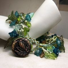 Beadwork Fringe Bracelet Greens Teal by StoneDesignsbySheila