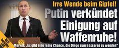 """Merkel sprach von einem """"Hoffnungsschimmer"""" und fügte hinzu: """"Ich habe keine Illusion, wir haben keine Illusion: Es ist noch sehr, sehr viel Arbeit notwendig. Es gibt aber eine reale Chance, die Dinge zum Besseren zu wenden."""" """"Wir haben Hoffnung - wir haben zwar noch nicht alles erreicht, aber wir haben eine ganz ernsthafte Hoffnung für die Ukraine und damit auch für Europa.""""  http://www.bild.de/politik/ausland/ukraine/obama-droht-putin-vor-ukraine-gipfel-in-minsk-39718336.bild.html"""