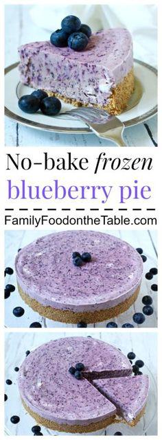 A creamy, no-bake frozen blueberry pie, perfect for summer!