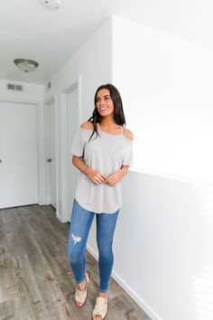 79da8270455aa Cutting Edge Cold Shoulder Top In Taupe. Rose Boutique ...