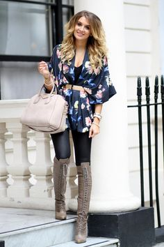 FLORAL CAPE & OTK BOOTS.  Not my typical style, but I think it's really chic.