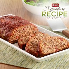 Hunt's® Homestyle Meatloaf: Brown sugar and tomatoes with onions add tangy-sweet flavor to this juicy meatloaf