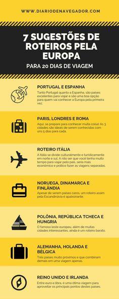 Quer conhecer a Europa? Para te inspirar a montar o seu roteiro particular, elaboramos sete sugest& de roteiros pela Europa! Ways To Travel, New Travel, Travel List, Places To Travel, Travel Destinations, Places To Go, Family Travel, Travel Checklist, Europe Travel Guide