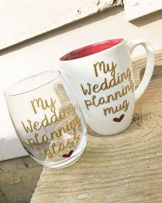 Wedding planning glass, engagement gift, engagement gifts for best friend, engagement gift for bride, engagement gifts for her, engagement by MjMaeDesigns on Etsy https://www.etsy.com/listing/518976652/wedding-planning-glass-engagement-gift