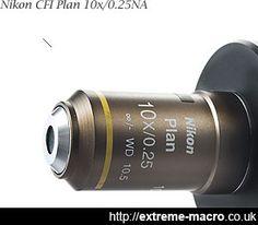 Nikon CFI Plan 10x/0.25NA 10.5mmWD objective for extreme macro