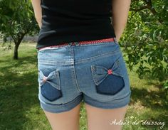 diy short jeans noeud, jeans bow short customise 22