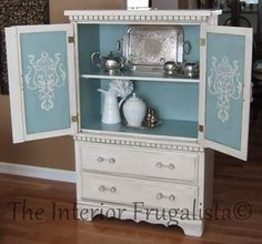 Do you LIKE a surprise pop of color like the inside of this armoire?  fab furniture makeovers: http://blog.cuttingedgestencils.com/fabulous-furniture-makeovers.html