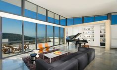 contemporary living room with Gerrit's Zig Zag chairs