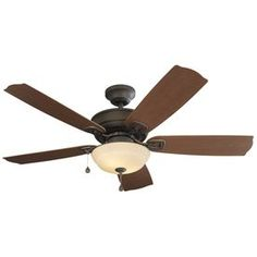 Shop Harbor Breeze Echolake 52-in Oil-Rubbed bronze Indoor/Outdoor Downrod Or Close Mount Ceiling Fan with Light Kit at Lowes.com