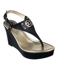 Look what I found on #zulily! Tommy Hilfiger Black Mariko Wedge Sandal by Tommy Hilfiger #zulilyfinds