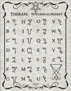 The Witches Alphabet known as Theban, presented here in Luciferian style on 8 x 11 parchment paper with sleeve. Alphabet Code, Sign Language Alphabet, Alphabet Symbols, Phonetic Alphabet, Tattoo Alphabet, Kids Alphabet, Alphabet Print, Witch Symbols, Magic Symbols