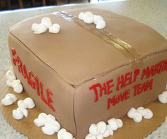Moving Party Cake! Cardboard box with styrofoam. A really cute idea for a moving party