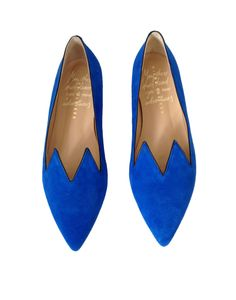 Minna Parikka Cobalt Blue Suede 'Purr' Cat Ear Flats