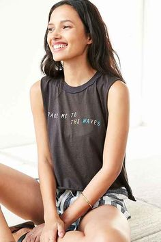 Corner Shop Waves Cropped Muscle Tee- Black from Urban Outfitters. Shop more products from Urban Outfitters on Wanelo.