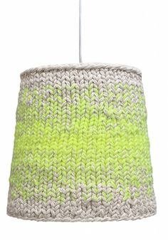 HK-living Hängelampe gestrickt aus Baumwolle, neongrün/creme, Ø35x34cm