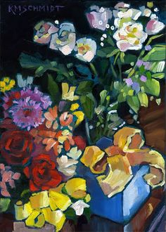 Just Landscape Animal Floral Garden Still Life Paintings by Louisiana Artist Karen Mathison Schmidt: Pleasant Surpriseswhite & red gift roses floral paintingmodern post-impressionist birthday artcolorist gift flowers illustrationLouisiana daily artist Oil Painting Flowers, Diy Painting, Flower Paintings, Art Floral, Rodin, Schmidt, Colorful Drawings, Art And Illustration, Botanical Art