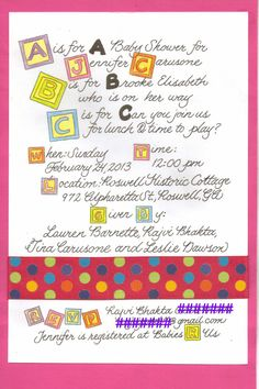 Alphabet block baby shower invitation with by fancywriting