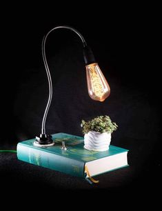 Book Lamp, Retro Lighting, Personalized Books, Vintage Stil, Different Light, Lamp Light, Vintage Designs, The Book, Handmade Gifts