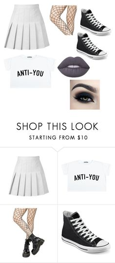 """Untitled #1874"" by jack-barakat-trash ❤ liked on Polyvore featuring Leg Avenue, Converse, Too Faced Cosmetics and Lime Crime"