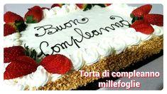 Torta di compleanno millefoglie con scritta/ Birthday cake with decorations Recipe - YouTube