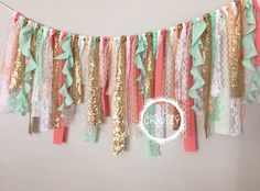 For windows - Coral, Mint & Gold sequin curly fabric garland banner - photo prop, cake smash, backdrop, curtain valance First Birthday Parties, Girl Birthday, First Birthdays, Birthday Ideas, Birthday Cake, Boho Baby Shower, Girl Shower, Girl Nursery, Girl Room