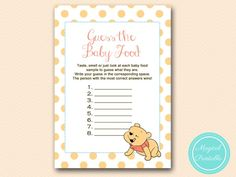 Winnie the Pooh Baby Shower Games $6.00 – Add to Cart  baby-food-game