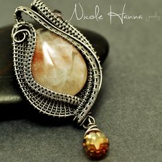 Nicole Hanna Jewelry | Moonstone Wire Wrapped Pendant, Crystal Accents in Silver-Filled | Online Store Powered by Storenvy