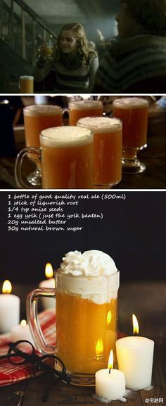 Butter Beer-- @Lindsey Ballo , we're going to have to have an HP party this winter, and test out a few different Butter Beer recipes. :D