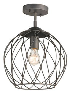 Industrial-Chic....Currey and Company Simpatico Semi-Flush Mount Ceiling Light