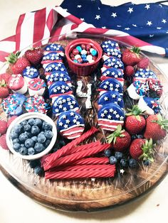 Fourth of July Charcuterie Board 4th Of July Desserts, Fourth Of July Food, 4th Of July Celebration, 4th Of July Party, July 4th, Charcuterie Recipes, Charcuterie And Cheese Board, Party Food Platters, Food Trays