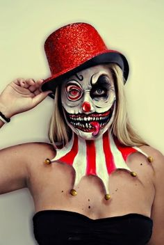 scary skull clown joker face makeup and costume - 2014 Halloween party, body painting #2014 #Halloween