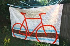 LOVE the bike quilt!!!!      Modern Organic Bicycle Crib/Toddler Quilt. $180.00, via Etsy.