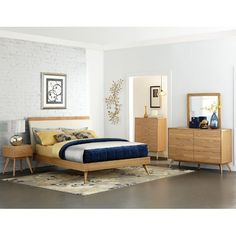 Light Ash Mid-Century Modern 6 Piece Queen Bedroom Set - Anika