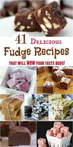 41 Delicious Fudge Recipes that will WOW Your Taste Buds - - From chocolate to peanut butter, peppermint, and even cotton candy, there is a fudge for everyone! These Fudge Recipes are sure to WOW your taste buds! Fudge Recipes, Candy Recipes, Chocolate Recipes, Gourmet Recipes, Sweet Recipes, Baking Recipes, Cookie Recipes, Easy Chocolate Fudge, Chocolate Tarts